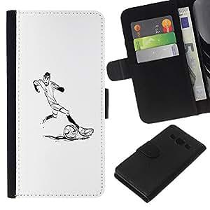 KLONGSHOP // Tirón de la caja Cartera de cuero con ranuras para tarjetas - Jugador de fútbol Soccer Minimalista Blanca - Samsung Galaxy A3 //