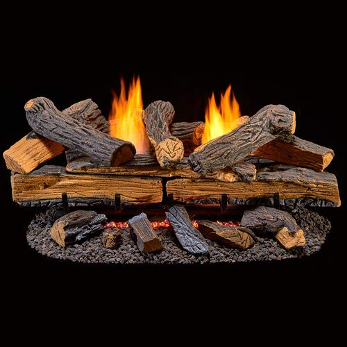 Duluth Forge Ventless Dual Fuel Gas Log Set-30 in. Berkshire Split Oak-Remote Control, 30 Inch