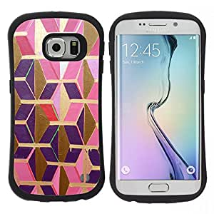 Pulsar iFace Series Tpu silicona Carcasa Funda Case para Samsung Galaxy S6 EDGE , Or Rose pourpre Polygon 3D dimensionnelle