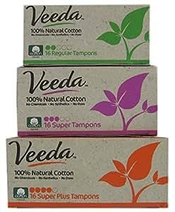Veeda - Natural Cotton Tampons - Applicator Free - Bundle of 3 Sizes