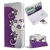 LG Aristo LV3 MS210 case, Luckiefind Premium PU Leather Flip Wallet Credit Card Cover Case, Stylus Pen, Screen Protector Accessories (Wallet Purple Vine)