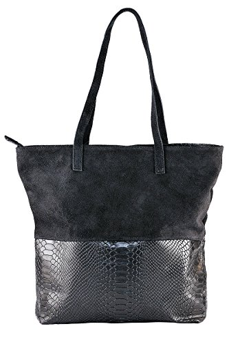 100 In Italy Made Suede Dori Soft Black Borderline Bag w1qdU4E