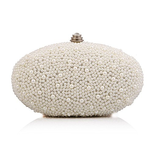 Wedding GAOXIA Banquet Handbags Mini white Day Purse Diamond Bag Beaded Pearl Chain Small Clutch Bag Pearl Purse Bridal Evening BqnZrBXPw6