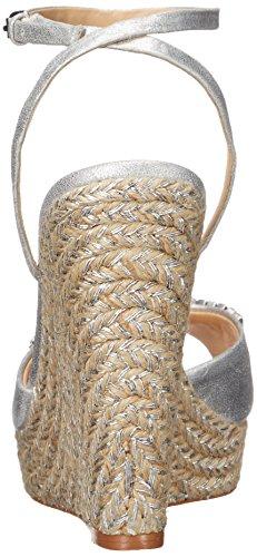 Badgley Mischka Annabel de la mujer Alpargata cuña sandalias Plateado