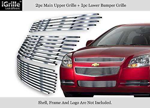 APS Compatible with 2008-2012 Chevy Malibu Stainless Steel Billet Grille Insert Combo N19-C51016C