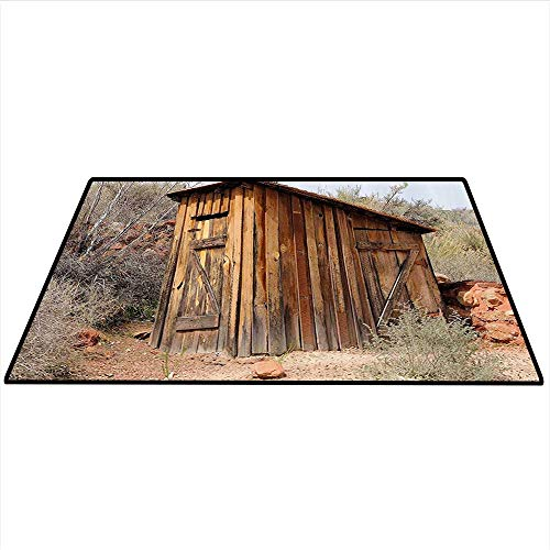 (Outhouse Area Rug Carpet Old Wooden Shed in The Outback Country Side with Olive Trees Art Door mat 4'x5' (W120cmxL150cm) Caramel Brown and Dark Green)
