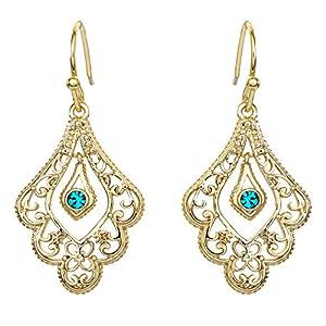 Disney Aladdin Princess Jasmine Gold Plated Crystal Filigree Dangle Earrings