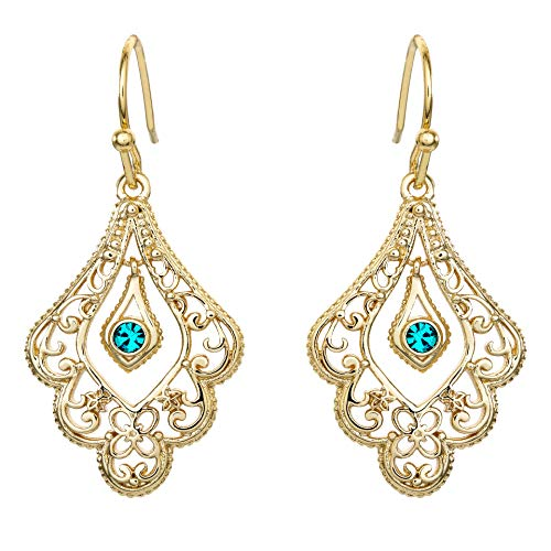Disney Aladdin Princess Jasmine Gold Plated Crystal Filigree Dangle Earrings