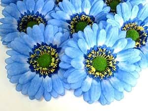 12 big seda azul gerbera cabezales de flor con cristales incrustados gerber daisies 8 89 cm - Cabezales de tela ...
