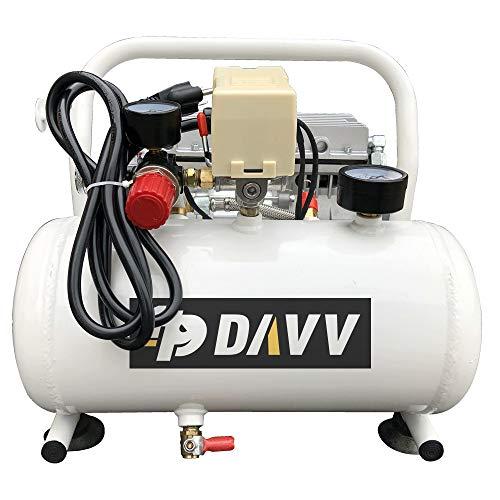 HPDAVV Oil-Less Portable Air Compressor – 110V/650W/6.5A – 4cfm @ 125psi – 2Gal Tank – 36lbs Light Weight – 56dB Ultra…