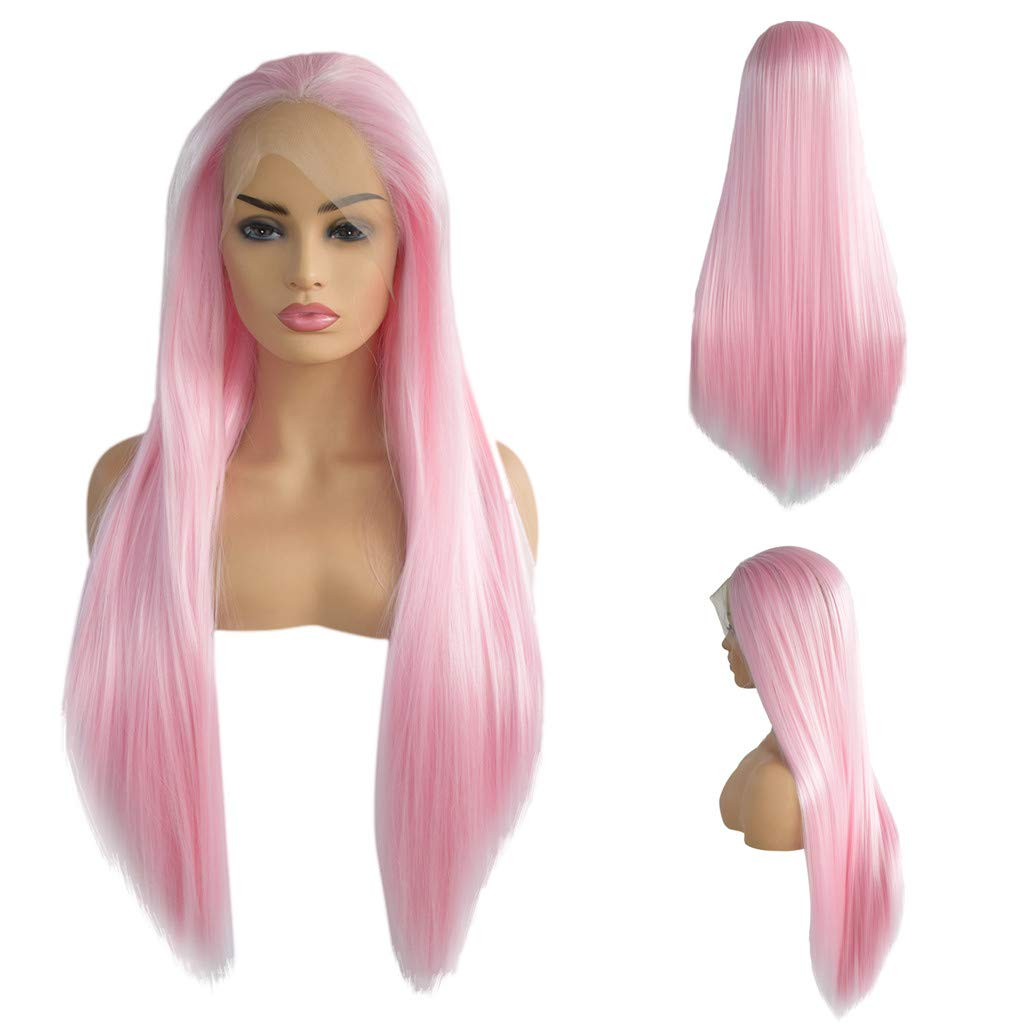 Jinjin Straight Pink Wig,Human Fiber Full Lace Wigs Cosplay Party For Women (pink,whit)