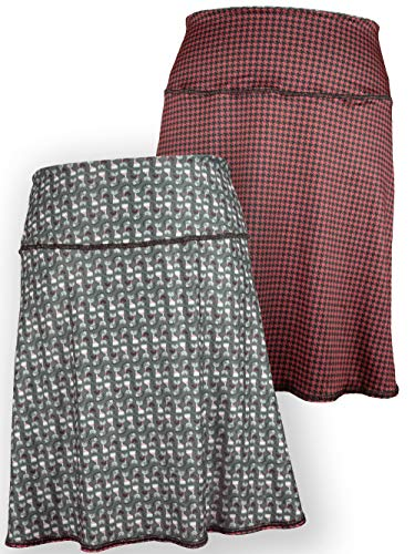 - Green 3 Novelty Reversible Skirt - Womens Recycled Skirt, Made in The USA (Clothes Cat & Houndstooth, Medium)