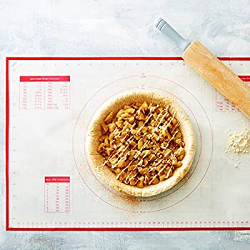 """BakeitFun Silicone Pastry Mat With Measurements, Standard Size 23"""" x 15"""", Full Sticks To Countertop For Rolling Dough, Conversion Information Included, Perfect Fondant Surface, FDA Approved & BPA Free"""