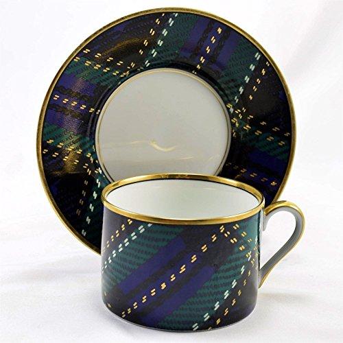 Fitz & Floyd Tartan Plaid Blue Green Cup and Saucer Set