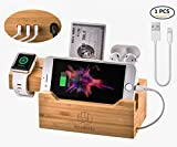 Woodbaby Airpods Charging Station 3 in 1 for Apple Watch Ipad Pro iPhone Charging Station Dock Cable 3 USB Charging Organizer Bracket for All Smartphone Series 4.7 to 12.5 Inch