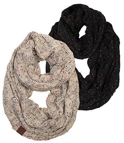 S1-6033-2-0667 Infinity Scarf Bundle - 1 Confetti Black, 1 Conf Oatmeal (2 Pack) by Funky Junque