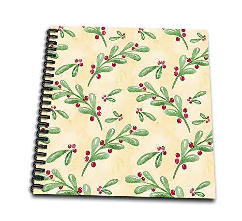 3dRose Anne Marie Baugh - Christmas - Cute Image Of Watercolor Mistletoe Sprigs Pattern - Memory Book 12 x 12 inch (db_318527_2)