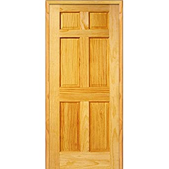 National Door Company Z023695L Unfinished Pine Wood 6 Panel  34u0026quot;x80u0026quot; Left Hand