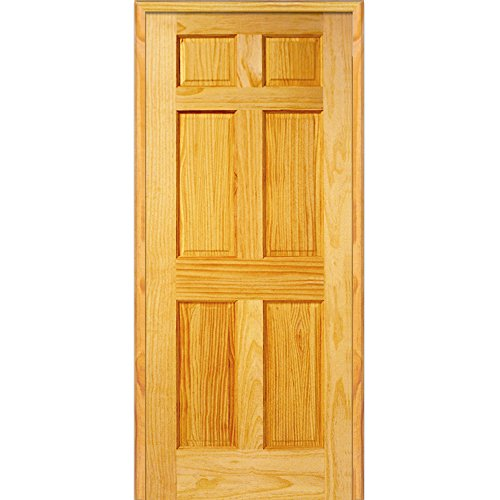 National Door Company Z023695L Unfinished Pine Wood 6-Panel 34''x80'' Left Hand Prehung Interior Door by National Door Company