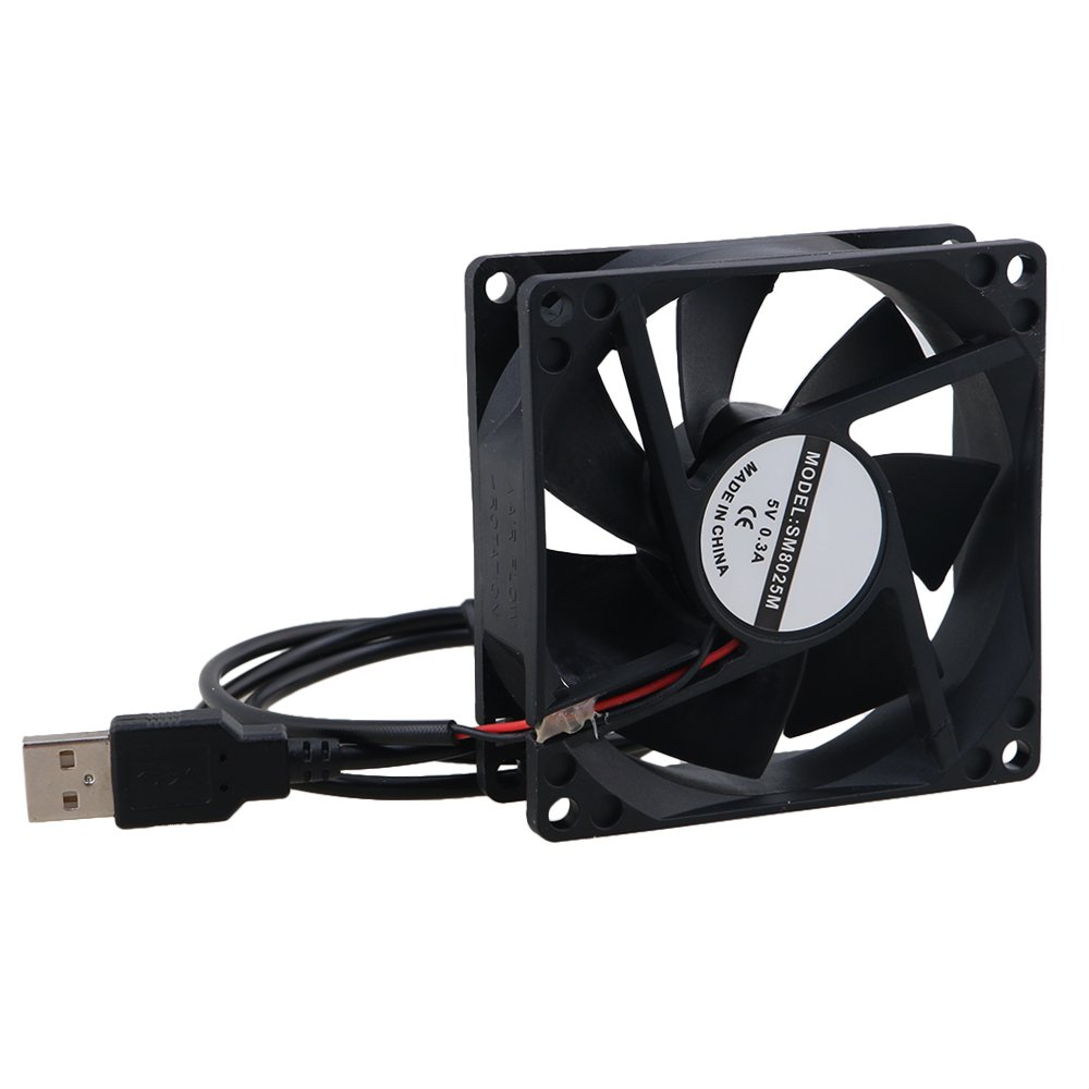 Mxfans 5V USB Type PC Cooling Fan 1300RPM Black 8025 Computer Cases 80x80x25mm