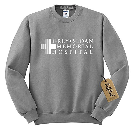 Grey Sloan Memorial Hospital Sweatshirt Sweater Crew Neck Pullover - Premium Quality (Small, Grey) by NuffSaid