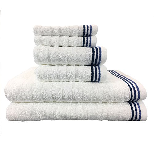 Wave Premium 6 Piece Bath Towel Set | 100% Ringspun Quick Dry Ribbed Cotton| 2 Bath Towels, 2 Hand Towels, 2 Washcloths by Arkwright (Navy)