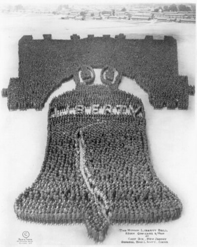 New 11x14 Photo: Human Liberty Bell of 25,000 Men at Camp - Jersey Hope New Mount