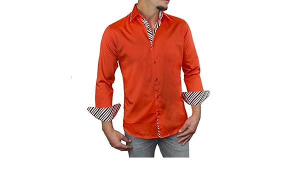 Mens Italian Design Soft Cotton Orange Floral Pattern Double Collar Long Sleeve Hand Made Shirt