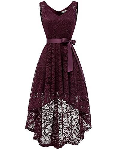 BeryLove Women's Floral Lace Hi-Lo Bridesmaid Dress V Neck Cocktail Formal Swing Dress BLP7018Burgundy M by BeryLove