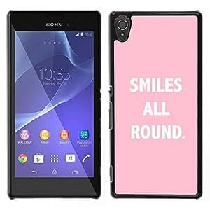 Caucho caso de Shell duro de la cubierta de accesorios de protección BY RAYDREAMMM - Sony Xperia T3 - Sonrisas All Round Texto Cita Rosa Blanco