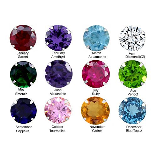 10K Solid White Gold 3mm Round Cut Simulated Gemstone Stud Earrings