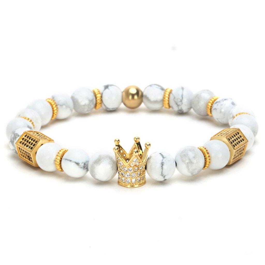 Joan Nunu CZ Crown King Charm Bracelet Men Women Black Matte Onyx Stone Beads