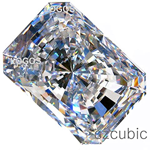 CUBIC ZIRCONIA (LOOSE STONE CUBICZIRCONIA) WHITE COLOR EMERALD SHAPE/ ROUND CUTTING CLEAR CZ 14.0 X 10.0 MM (10.00 CTS DIAMOND WEIGHT) SUPER & SUPER QUALITY .NOT