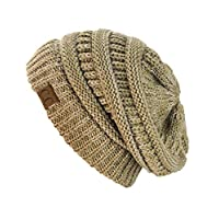 NYFASHION101 Unisex Multicolor Warm Cable Knit Thick Slouch Beanie Cap, 2 Tono Taupe
