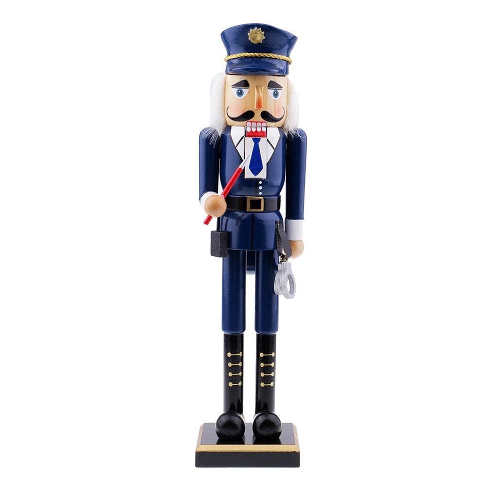 Baosity Puppets Doll Toy Wooden Nutcracker Walnuts Police Nutcracker Police Puppet Christmas Celebration - #2