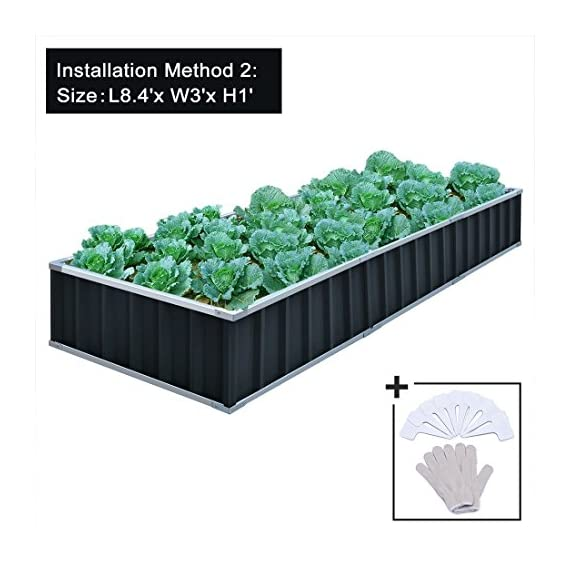 "KING BIRD Extra-Thick 2-Ply Reinforced Card Frame Raised Garden Bed Galvanized Steel Metal Planter Kit Box Green 68""x 36""x 12"" with 8pcs T-Types Tag & 1 Pair of Gloves, 17 Cu. Ft. 3 【TWO YEARS WARRANTY】Update the newest assembly video in April. Show more details about installment, stability and convenience. The most wonderful design of our KING BIRD raised garden bed is not only about the convenient and fast installation without tools, also for its smart design to vastly increase the loading ability and capacity. TWO YEARS WARRANTY and 100% satisfaction After-service are provided, please contact us directly if any questions or doubts. 【Extra-thick 2-Ply Reinforcement】 Double card frames on the two sides of sheet make the garden bed more durably and stably; never worry about its distorted or collapsed and it presents much more beautiful design. 【Multilayer Galvanized Paint】 Upgraded multilayer galvanized paint efficiently prevents rust and continues to beauty; also never worry about that pest and rain damage the wood garden bed; galvanized steel garden bed provides a lasting use and no discoloration. No painting inside, no worries about the damage for plants."