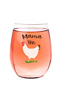 Mama Hen Stemless Wine Glass Tumbler- Gift For Crazy Chicken Lover Lady 15 oz Cute Hen Design