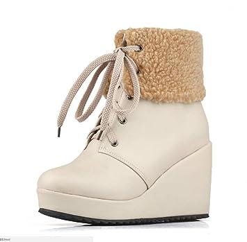 SHANGWU Zapatos con cuña para Mujer Botines/Tacón Alto Oculto 8 CM Entrenadores con Cordones