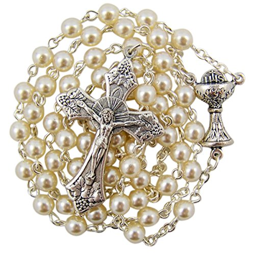 First Communion White Rosary Necklace with Chalice Centerpiece, 24 Inch (First Communion Centerpieces)