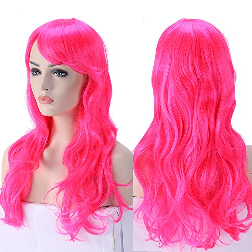 [2-5 Days Delivery Unisex Japanese Anime Cosplay Wigs Synthetic Long Curly Big Wave Full Party Costume Wig Layered with Bangs and Cap Halloween Wigs for Women (24