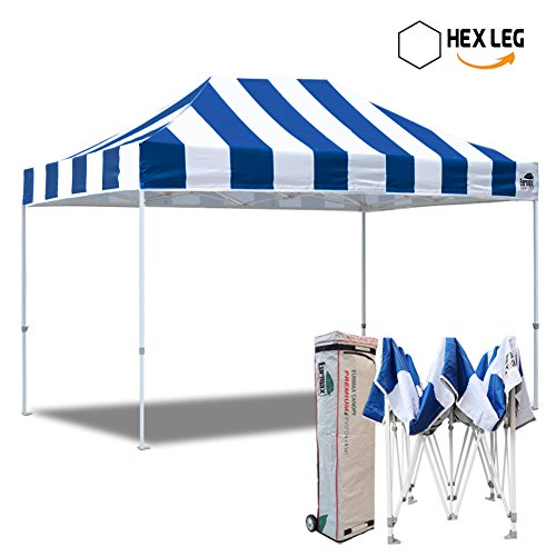 Eurmax 10×15 Ft Premium Ez Pop up Canopy Instant Shelter Outdoor Party Gazebo Commercial Grade Bonus Roller Bag (Stripe Blue White)