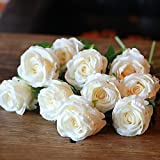PARTY JOY Vintage Artificial Silk Rose Flower Bouquet Wedding Party Home Decor,Park of 10 (Vintage Champagne)