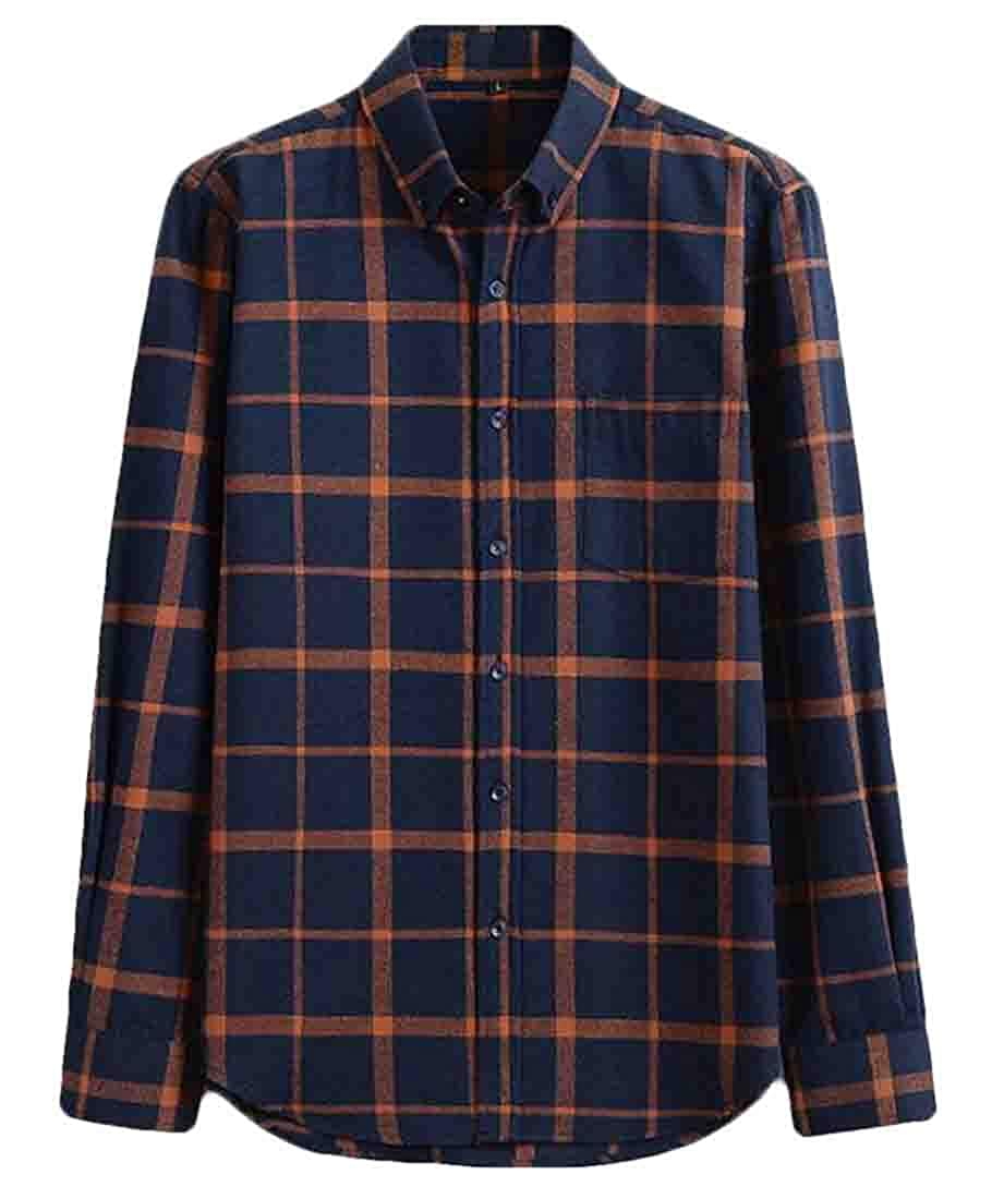 Wilngo Mens Casual Long-Sleeve Regular Fit Cotton Check Button Up Flap Pockets Shirt