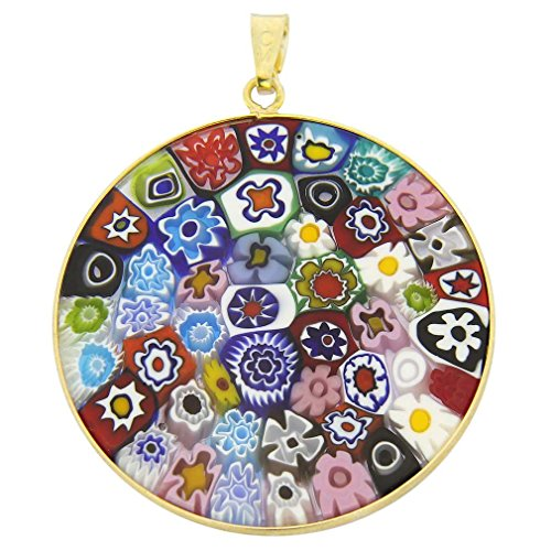 Pendant Millefiori Glass (GlassOfVenice Murano Glass Millefiori Pendant Multicolor in Gold-Plated Frame 1-1/)