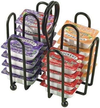 597CBK Tablecraft Powder Coated Steel Packet Rack Set of 12