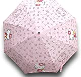 Finex Hello Kitty Pink Manual Tri-fold Folding Compact Travel Rain Umbrella UV Protection Strong Windproof