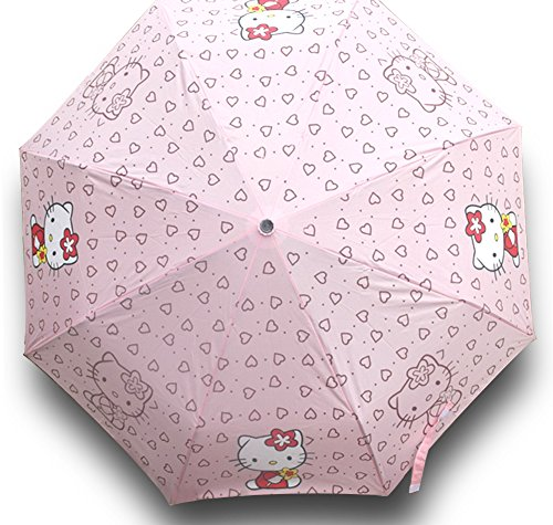 Finex Hello Kitty Pink Manual Tri-fold Folding Compact Travel Rain Umbrella UV Protection Strong Windproof -