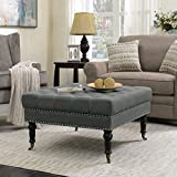 Big Square Ottoman Coffee Table Belleze Square Ottoman Large Tufted Button Linen Fabric Bench Foot Nailhead Trim Stool with Rolling Wheels, Charcoal