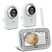 VTech VM341-2 Video Baby Monitor with Automatic Night Vision, Temperature Sensor, Soothing Lullabies, Talk-back Intercom & 1,000 feet of Range with 2 Cameras