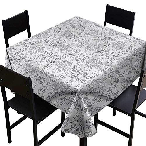home1love Grey Anti-Fading Tablecloths Victorian Regency Tile Table Cover for Dining 54 x 54 Inch